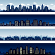 City buildings at night and day — Stock Vector