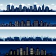 City buildings at night and day — Vector de stock