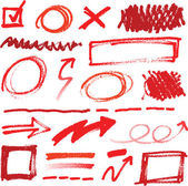Collection of hand-drawn red pencil corrections — Stock Vector