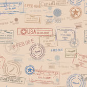Seamless tiling postage themed pattern with stamps — Stockvektor