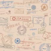 无缝拼接邮资邮票主题图案 — 图库矢量图片
