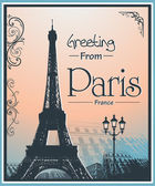 Copyspace Retro Style Poster With Paris Background — Stock Vector