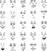 Cartoon face emotions hand drawn set — Stock Vector