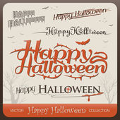 Set of happy halloween greetings typography — Stock Vector