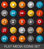 Flat media icons with shadow — Stock Vector