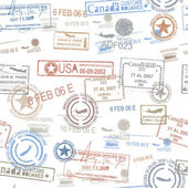 Rubber passport stamps travel symbol — 图库矢量图片