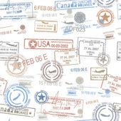 Rubber passport stamps travel symbol — Stock Vector
