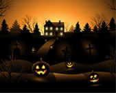 Vector Halloween haunted house background — Stock Vector