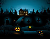 Blue Halloween invitation haunted house background — Stock Vector