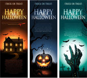 Vertical vector Halloween invitation banners — Vettoriale Stock