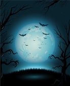 Creepy Halloween night poster full moon copy space — Stock Vector