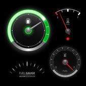 Fuel gauge speedometer vector collection — Vettoriale Stock