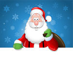 Cartoon Santa Claus over a white blank — Stock Vector