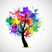Multi colored paint splat abstract tree — Stockvektor