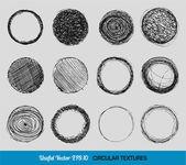 Hand drawn vintage circular textures — Stock Vector
