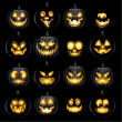 Set of jack o lantern pumkins halloween faces — Stock Vector #51617415