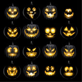 Set of jack o lantern pumkins halloween faces — Stock Vector