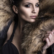 Portrait of a young fashion model wearing fox fur smoky eyes - Stock Photo
