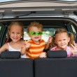 Royalty-Free Stock Photo: Three happy kids in the car