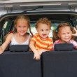 Three happy kids in car — Stock Photo #12738841