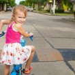 Happy child on a bicycle — Stock Photo