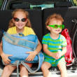Two happy kids in the car - Photo