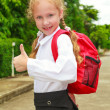 Schoolgirl showing OK sign — Stock Photo