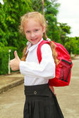 Schoolgirl showing OK sign — Stock Photo