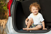 Little boy in the car — Stock Photo