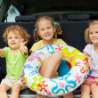 Three happy kids in the car — Stock Photo #30478319