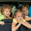 Three happy kids in the car — Stock Photo #30478379