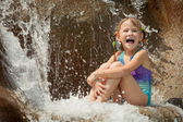 Little girl in the waterpark — Stock Photo