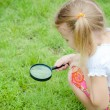 One little girl with magnifying glass outdoors in the day time — Stockfoto