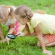 Two little girls with magnifying glass outdoors in the day time — ストック写真