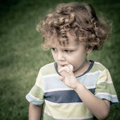 Portrait of sad little boy — Stock Photo