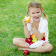Little girl sitting on the grass and holding apples — Stock Photo #34127371