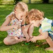 Two little kids playing with magnifying glass outdoors in the d — Stock Photo #36966425