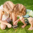 Two little kids playing with magnifying glass outdoors in the d — Stock Photo