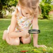 One little girl with magnifying glass outdoors in day time — Stock Photo #36966735