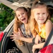 Two happy kids in the car — Stockfoto