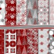 Abstract vector set of Christmas paper for scrapbook - Stock Vector