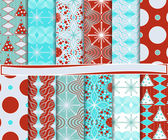Abstract vector set of Christmas paper for scrapbook — Stock Vector