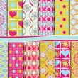 Abstract vector set of paper for scrapbook Valentine's Day — 图库矢量图片