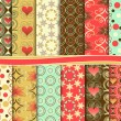 Stockvector : Abstract vector set of paper for scrapbook Valentine's Day