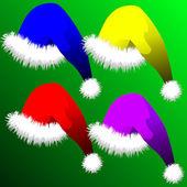 Ilustración vectorial - conjunto de sombreros de la navidad — Vector de stock