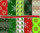 Abstract vector set van kerstmis papier voor scrapbook — Stockvector