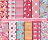 Abstract vector set of scrapbook paper with Valentine's Day — Cтоковый вектор