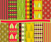 Abstract Christmas vector set of paper for scrapbook — Stock Vector