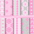 图库矢量图片: Abstract vector set of scrapbook paper Valentine's Day