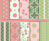 Abstract floral vector set of scrapbook paper — Stock Vector